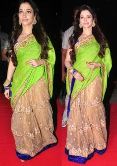 Bollywood Actress Tamanna Bhatia Net and Georgette Lehenga Saree in Green and Beige color