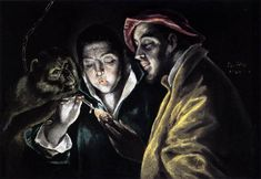 Allegory, boy lighting candle in the company of an ape and a fool - Fábula  Artist: El Greco Completion Date: c.1590 Place of Creation: Spain Style: Mannerism (Late Renaissance)