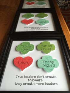 Girl Scout troop leader gifts done with the Silhouette Cameo. Scout Mom, Girl Scout Swap, Daisy Girl Scouts, Girl Scout Leader, Girl Scout Troop, Brownie Girl Scouts, Girl Scout Cookies, Boy Scouts, Girl Scout Bridging