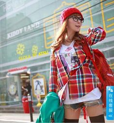 Red Multicolored Checkered Street Style Fashionable Korean Trendy Shirt  6
