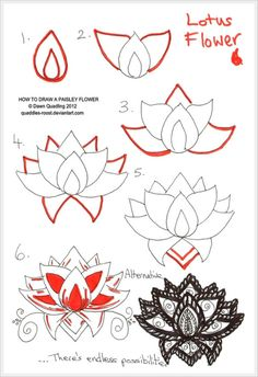 How to draw lotus flower step by step pencils drawings pinterest how to draw paisley lotus flower 06 by quaddles roost mightylinksfo