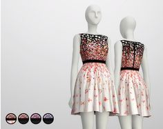 Rusty Nail: Black Cherry Blossom dress • Sims 4 Downloads