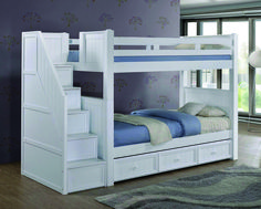 Shopping for high quality Dillon white twin bunk bed with stairway storage for girls room. Best birch wood bunk beds with drawers, trundle for kids bedroom. Bunk Beds With Drawers, Wooden Bunk Beds, Bunk Beds With Storage, Cool Bunk Beds, Bunk Beds With Stairs, Bed Storage, Storage Stairs, Stairway Storage, Storage Ideas