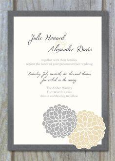 Formal Dahlia Printable Wedding Invitation by PugFacePrints, $20.00
