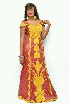 Embroidered African brocade maxi dress by NewAfricanDesigns African Maxi Dresses, Latest African Fashion Dresses, African Dresses For Women, African Women, Nigerian Fashion, Ghanaian Fashion, African Tops, African Wear, African Attire