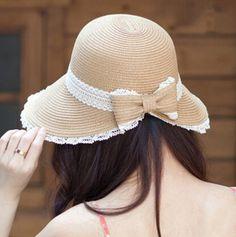 Wide brim straw sun visor hat for women lace bow beach hats