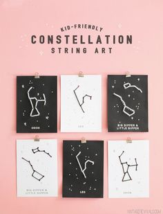 "Kid Friendly Constellation Art ""We could have ll the kids make string art of the five VBS Gaactic Starveyor theme constellations! Diy Wall Art, Diy Art, Diy Embroidery Projects, Paper Embroidery, Embroidery Designs, Embroidery Dress, Creative Crafts, Diy Crafts, Glue Crafts"