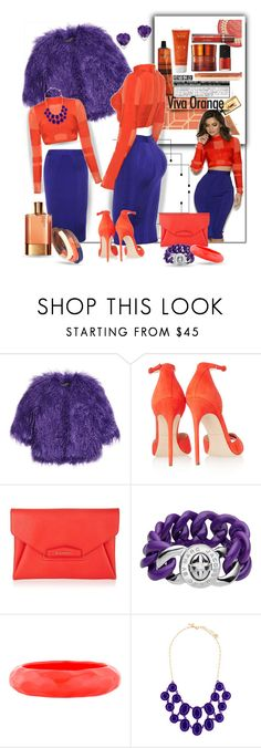 """""""Viva Orange"""" by wanda-india-acosta ❤ liked on Polyvore featuring Shrimps, Brian Atwood, Givenchy, Marc by Marc Jacobs, Kenneth Jay Lane, Kate Spade, Kevin Jewelers, women's clothing, women's fashion and women"""