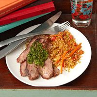 Grilled Sirloin With Horseradish Chimichurri and Quinoa Pilaf