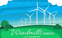 Drawing featuring the renewable energy source of windmills. Design shows some windmills on a green field and blue sky with clouds and lights. Also has