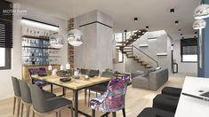 interior design ~ two-storey apartment in Krakow with mezzanine Krakow, Conference Room, Behance, Interior Design, Table, Furniture, Home Decor, Lounges, Mezzanine