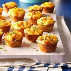 """Mini Sausage Quiches Recipe -These bite-size quiches are loaded with sausage and cheese, plus their crescent roll base makes preparation a breeze. Serve the cute """"muffinettes"""" at any brunch or potluck gathering. —Jan Mead, Milford, Connecticut"""
