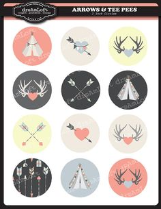 Arrows & Tee Pees 2 Inch Round Circles for stickers, coasters, tags, pendants, cupcake toppers, pins and more on Etsy, $3.99