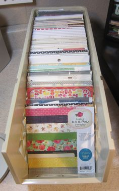 I saw a picture on pinterest that gave me an idea about how to store my paper scraps from my 6×6 paper pads and thought I'd share it with you!  If you are tired of turning your paper pad…
