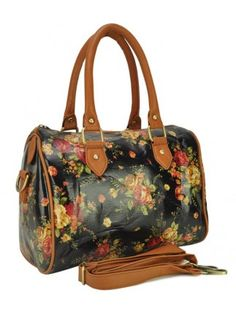 Elegant Fresh Flowers Print Zipper One-shoulder Bag