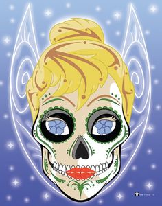 Tinkerbell Sugar Skull Print 11x14 print by NutCracks on Etsy, $19.00