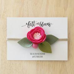 Items similar to FUCHSIA ~ / felt flower headband - single bloom - flower headband - baby headband on Etsy Nylon Flowers, Felt Flowers, Fabric Flowers, Paper Flowers, Flower Headband Wedding, Baby Flower Headbands, Fabric Flower Tutorial, Pattern Flower, Bow Tutorial