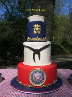United State Navy Cake by Misti Short Cakes Military Retirement Parties, Retirement Cakes, Retirement Ideas, Military Cake, Navy Military, Military Apparel, Navy Cakes, Deployment Party, Navy Tattoos