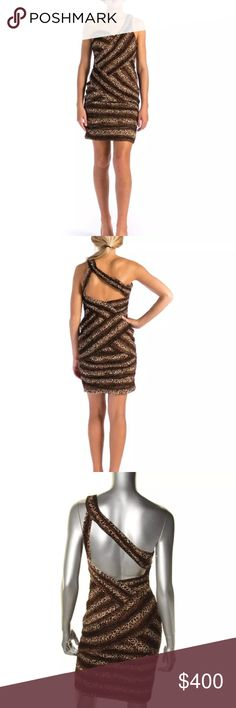 NWT Sue Wong Brown One Shoulder Cocktail Dress Manufacturer: Sue Wong Size: 10 Size Origin: US Manufacturer Color: Animal Print Retail: $375.00 Condition: New with tags Style Type: Sexy Collection: Sue Wong Silhouette: Sheath Sleeve Length: One Shoulder Closure: Hidden Side Zipper Dress Length: Knee-Length Total Length: 37 1/2 Inches Bust Across: 17 1/4 Inches Waist Across: 14 Inches Material: 100% Nylon/100% Polyester Fabric Type: Chiffon Specialty: Padded Bust Sue Wong Dresses One Shoulder