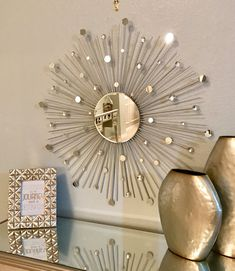 Starburst Mirror, Sunburst Mirror, Wall Mirror (Sunburst) Product Dimensions: L x H x W Inches Product Material: Glass, Gems, Wood Add an elegant Silver Sunburst Mirror, Sun Mirror, Starburst Mirror, Mirror Wall Art, Metal Wall Decor, Metal Wall Art, Entry Way Design, Small Mirrors, Metal Walls