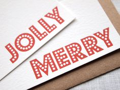 Letterpress Holiday Gift Tags / Mini Cards / Party Favor Tags