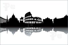 Illustration of Rome skyline - black and white vector illustration