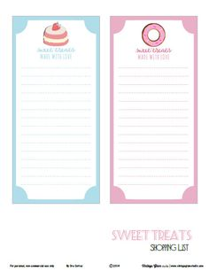 Free Sweet Treats Shopping Lists from Vintage Glam Studio