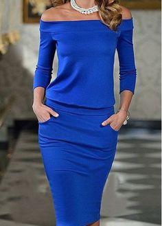 Off the Shoulder Royal Blue Pocket Design Dress - USD $22.21