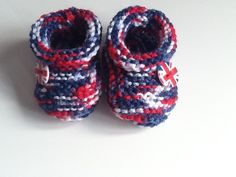 Hand Knitted Baby Shoes or Bootees - Red, White and Blue & Union Jack £3.50