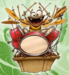 BB drummer by Dennis Jones Drums Wallpaper, Drum Drawing, Dennis Jones, Drum Lessons For Kids, Eclectic Artwork, Goofy Disney, Drums Art, Vintage Drums, Music Drawings