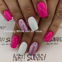 Simple & Trending White Nail Design Ideas - Nail art designs - Best Nail World White Nail Art, White Nails, Pink Nails, White Nail Designs, Nail Art Designs, Vacation Nails, Nagel Hacks, Fuchsia, Nagel Gel