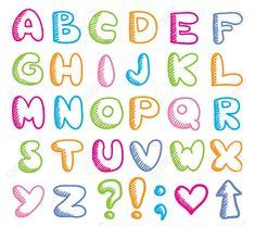 Alphabet Funny by Redcollegiya Alphabet Writing, Hand Lettering Alphabet, Doodle Lettering, Graffiti Lettering, Lettering Styles, Bullet Journal Font, Journal Fonts, Lettering Tutorial, Cool Writing Styles