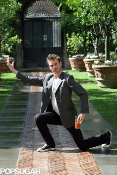 Happy Birthday, Michael Fassbender — Celebrate With 36 Silly, Sexy Snaps: Michael Fassbender struck a hilarious pose during a September 2007 photocall for Angel in Rome.