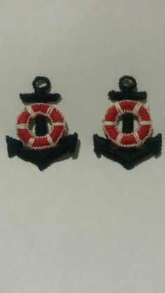 2 Blue and Red Boat Ship Anchor Applique Sew On Patch 2 Inches Tall Ship Anchor, Sew On Patches, Appliques, Red And Blue, My Etsy Shop, Pairs, Sewing, Check, Riveting