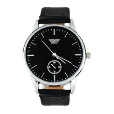 Classic Mans Quartz Electronic Analog Leather Strip Wrist Watch