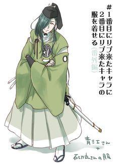 Nikkari Aoe in Ishikirimaru attire | Touken Ranbu【ラクガキ】(番外編)にっかりさんに石切丸さんの服 #1番目にリプ来たキャラに2番目にリプ来たキャラの服を着せる