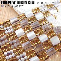 Miyuki Tila Beads Iridescent Crystal - The Bead Shop Nottingham Limited Beaded Braclets, Beaded Bracelet Patterns, Beading Patterns, Twin Beads, Handmade Beaded Jewelry, Bracelet Tutorial, Schmuck Design, How To Make Beads, Loom Bracelets