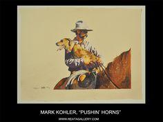 """Western Art by Mark Kohler, """"Pushin' Horns"""""""