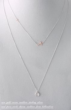 Rose Gold Two Crosses Necklace Sterling Silver from Kellinsilver.com – small sideways cross necklace, sideways cross necklace rose gold