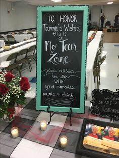 No Tear Zone sign we created for my MIL's celebration of life party to help set the expectations as different than a funeral.  #memorial #funeral #celebrationoflife