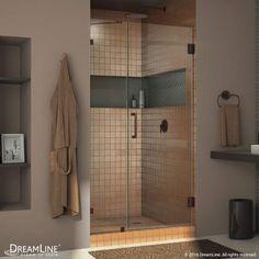 "DreamLine SHDR-23527210 Unidoor Lux 72"" High x 52"" Wide Hinged Frameless Shower Oil Rubbed Bronze Showers Shower Doors Swing"