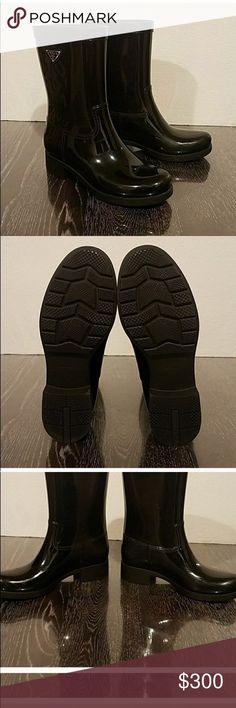 Authentic Prada Rainboots Black Prada Rainboots women's 8- true to size. gently worn. 100% authentic. Prada Shoes Winter & Rain Boots