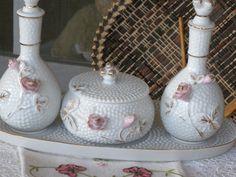 Vintage Porcelain Vanity Dresser Set Perfume Bottles Powder Box Tray