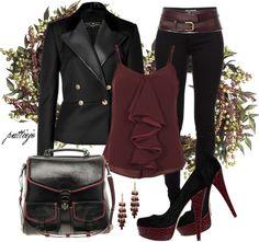 Black blazer maroon top and black skinny jeans I Love Fashion, Passion For Fashion, Winter Fashion, Fashion Fashion, Cool Outfits, Casual Outfits, Fashion Outfits, Rocker Chic, Character Outfits
