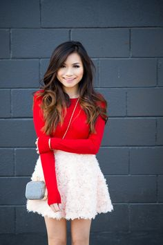Valentine's Day Outfit: RED SWEATER + FLUFFY ROSETTE PINK SKIRT  #valentines #day #outfit #ideas #idea #inspiration #skirt #pink #red #ombre #hair #wavy