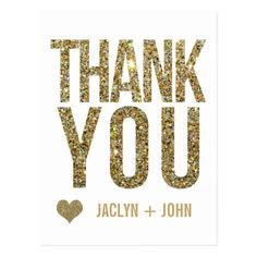 Gold Glitter Thank You Cards White & Gold Glitter Wedding Thank You Postcard
