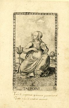 WL female figure, seated in a landscape, her head in TQ profile to l; playing a viola; after the so-called Tarocchi Cards of Mantegna.  Engraving