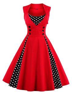 Shop Vintage Dresses - Polka Dots Vintage Paneled Sleeveless Crew Neck Vintage Dress online. Discover unique designers fashion at PopJuLia.com.