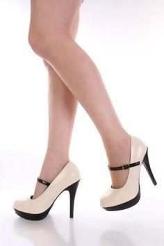 Beige Two Tone Patent Faux Leather Maryjane Pump Heels