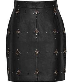Womens Black Embellished Leather Skirt - Reiss Tess